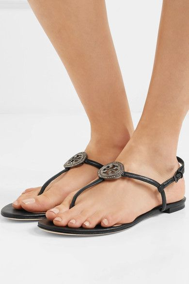 07d71ce32a4 Tory Burch - Liana Crystal-embellished Leather Sandals - Black