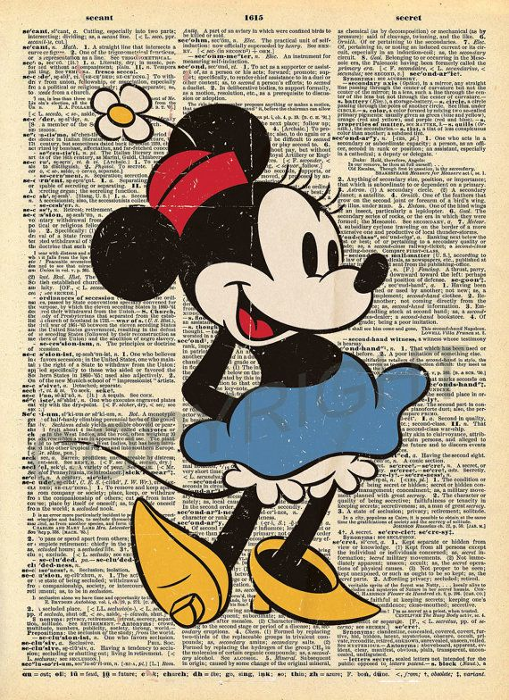 Minnie Mouse Dictionary Art Print By AmourPrints On Etsy Imagenes Mundos Disney Dibujos