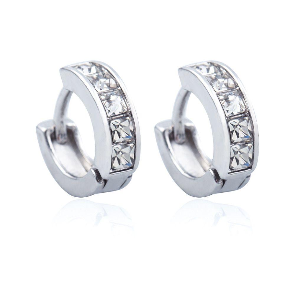 09533345b3133 Gold Silver Hoop Earring Zircon Rhinestone Small Round Circle Huggie ...