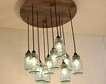 Mason Jar Chandelier - Antique Blue Mason Jars - Mason Jar Lighting - Upcycled…