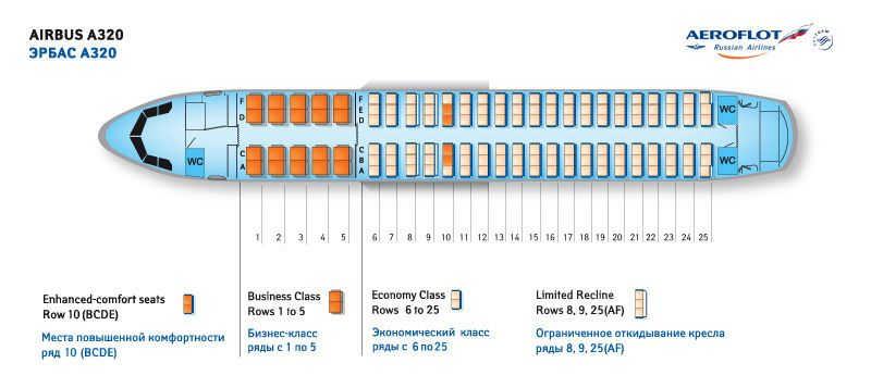 Aeroflot Russian Airlines Airbus A320 Aircraft Seating Chart