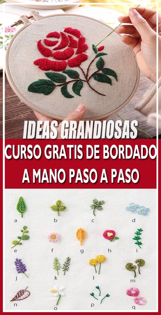 CLASE GRATIS DE COMO BORDAR A MANO PASO A PASO