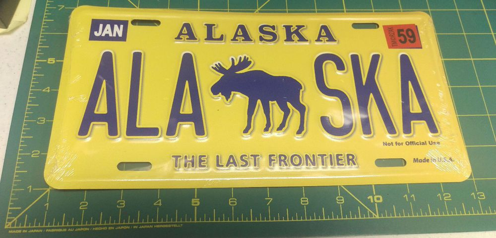 NEW Alaska License Plate Bull Moose with ALASKA Novelty
