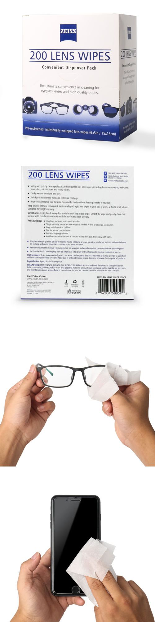 200CT ZEISS Lens Cleaning Wipes Eye Glasses Screen Optical