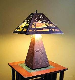 arts and crafts design movement copper sunset lighting ...