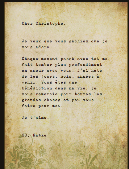 French love letter sweetest thing I've ever read | Love Notes from