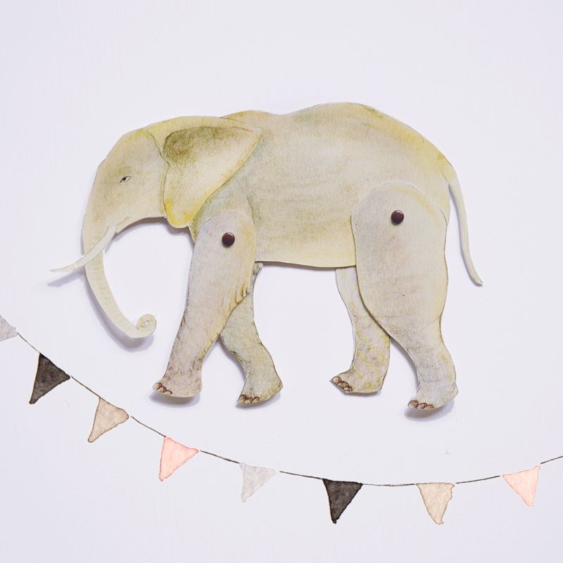 Elephant download and print at home articulated paper animal by Julianna Swaney