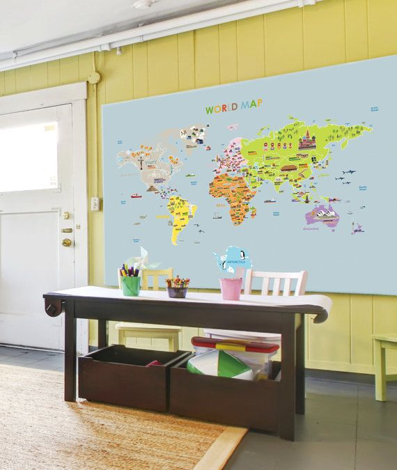 World Map Removable Wall Sticker.World Map Removable Wall Decal Nursery Illustrated World Map Sticker