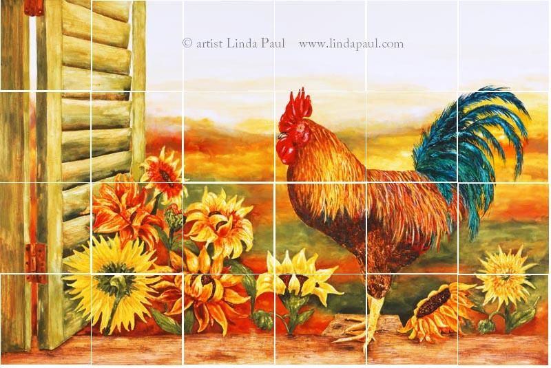 Mural Tiles For Kitchen Decor Rooster And Hen Decor  Rooster Kitchen Backsplash With Sunflowers