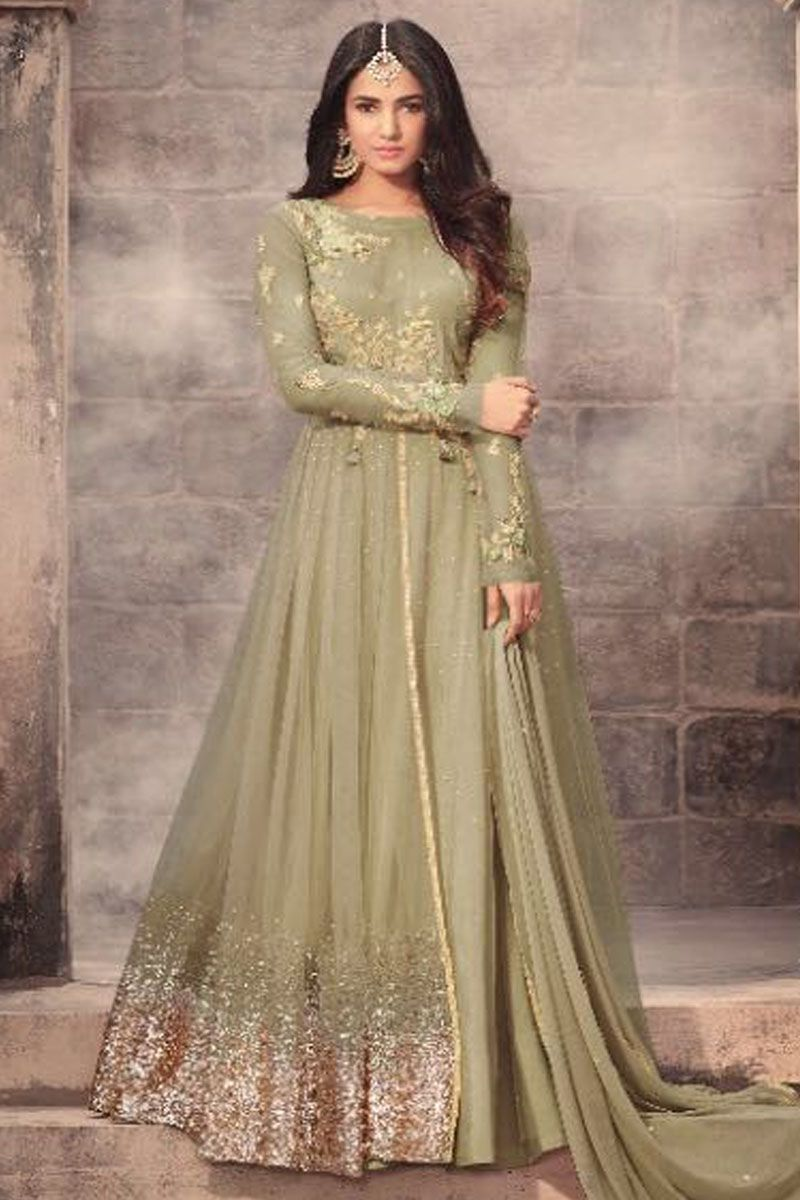 dc7db33aba Beautiful Green Embroidered Net Fabric Sonal Chauhan Designer Wedding Wear  Stylish Bollywood Designer Fancy Indian Bride Celebrity Bridal Gown Style  Suit ...