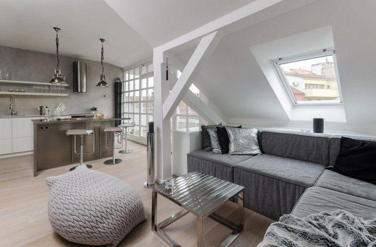 Wohnzimmer Und Wohnküche In Grau Und Weiß