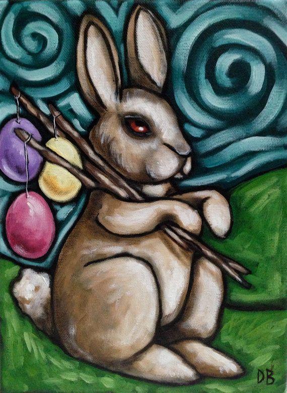 easter colourfu l acrylic painting rabbit bunny eggs canvas