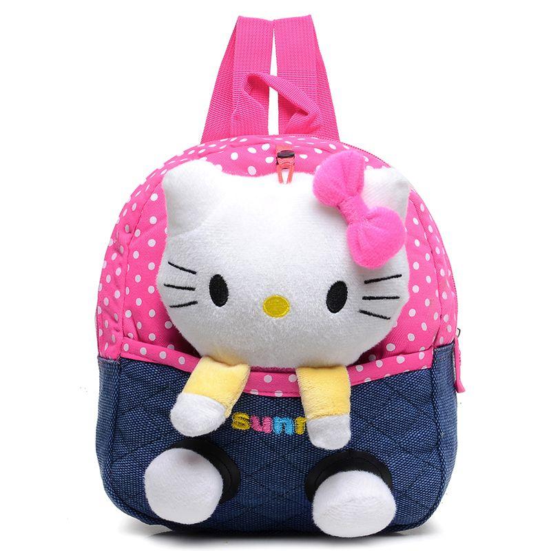 Lovely soft Plush hello kitty bear school bag doll detachable bag ...