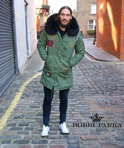 584279077e2 Calum Best Mens Embroidered Faux Fur Collar Green Parka Jacket with Black  Faux Fur 3