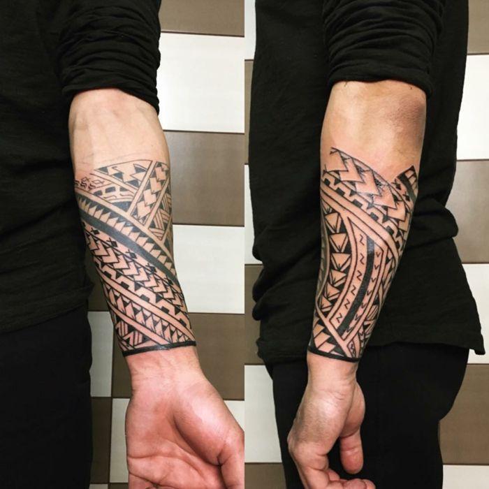 tatuajes maories brazalete con motivo polinesios punta de lanza en
