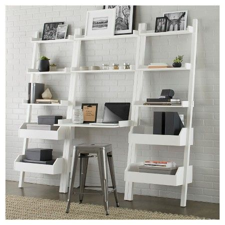 Lowry Leaning Bookcase With Storage Target Desk White Apartment Essentials Decor