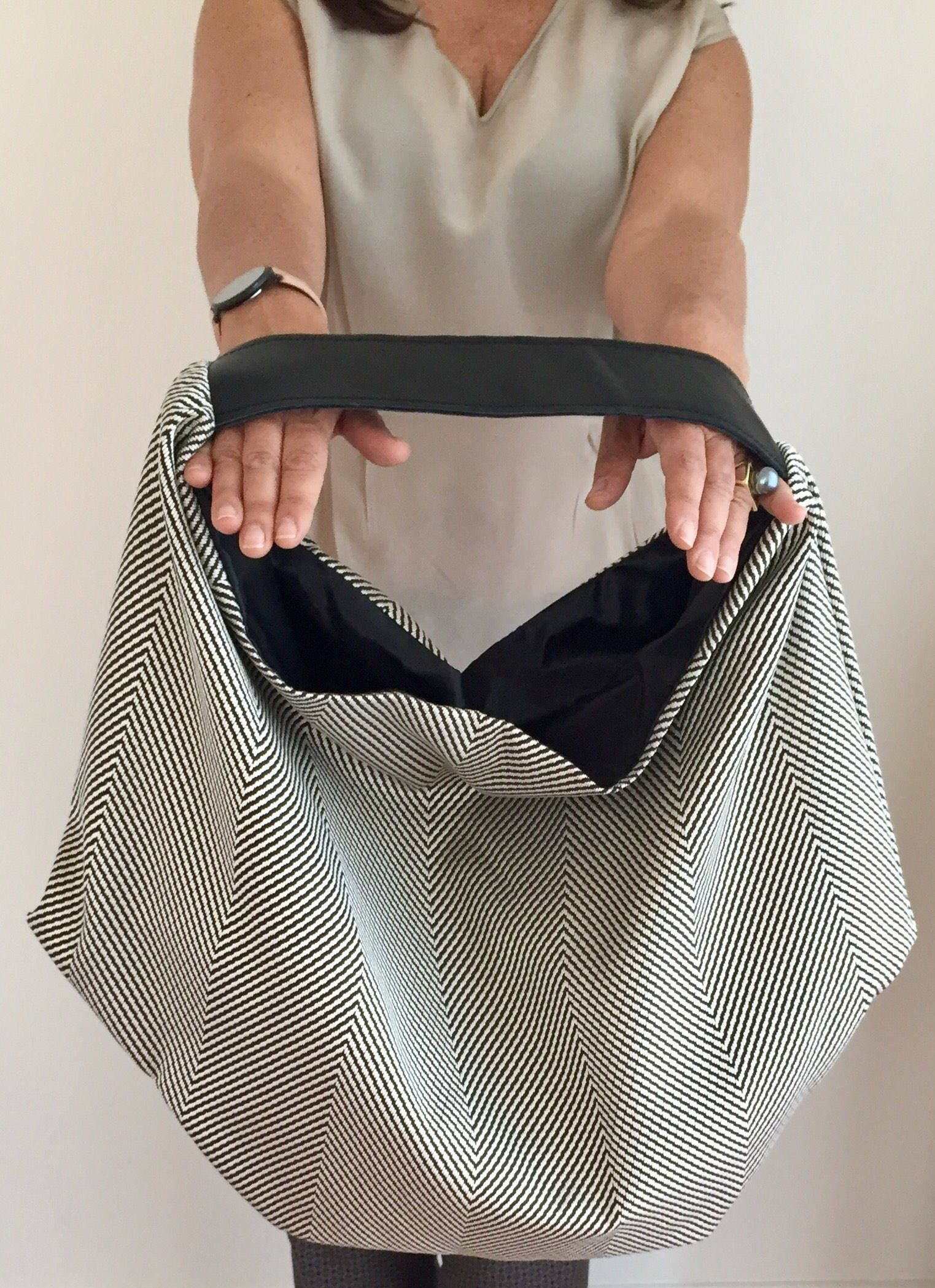 Black blue white fabric and leather slouchy hobo bag  e15df1892f515