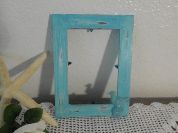 Beach Cottage Frame Shabby Chic Aqua Turquoise by ElegantSeashore, $9.99