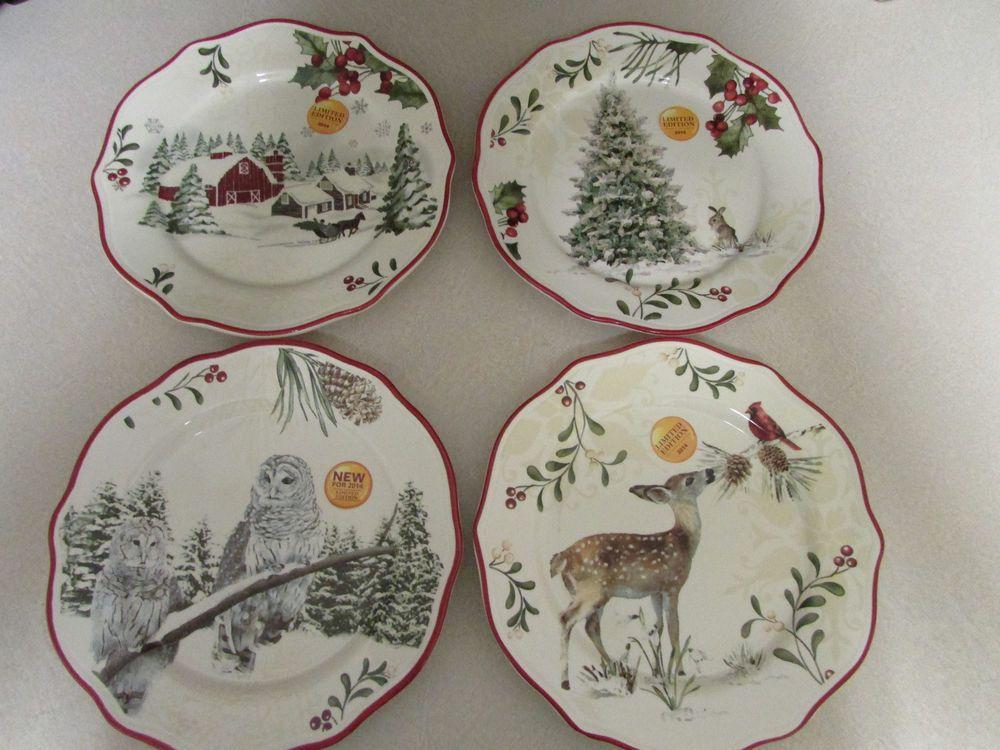 NEW 2014 Better Homes And Gardens Christmas Holiday White Heritage Salad  Plates #BetterHomesGardens