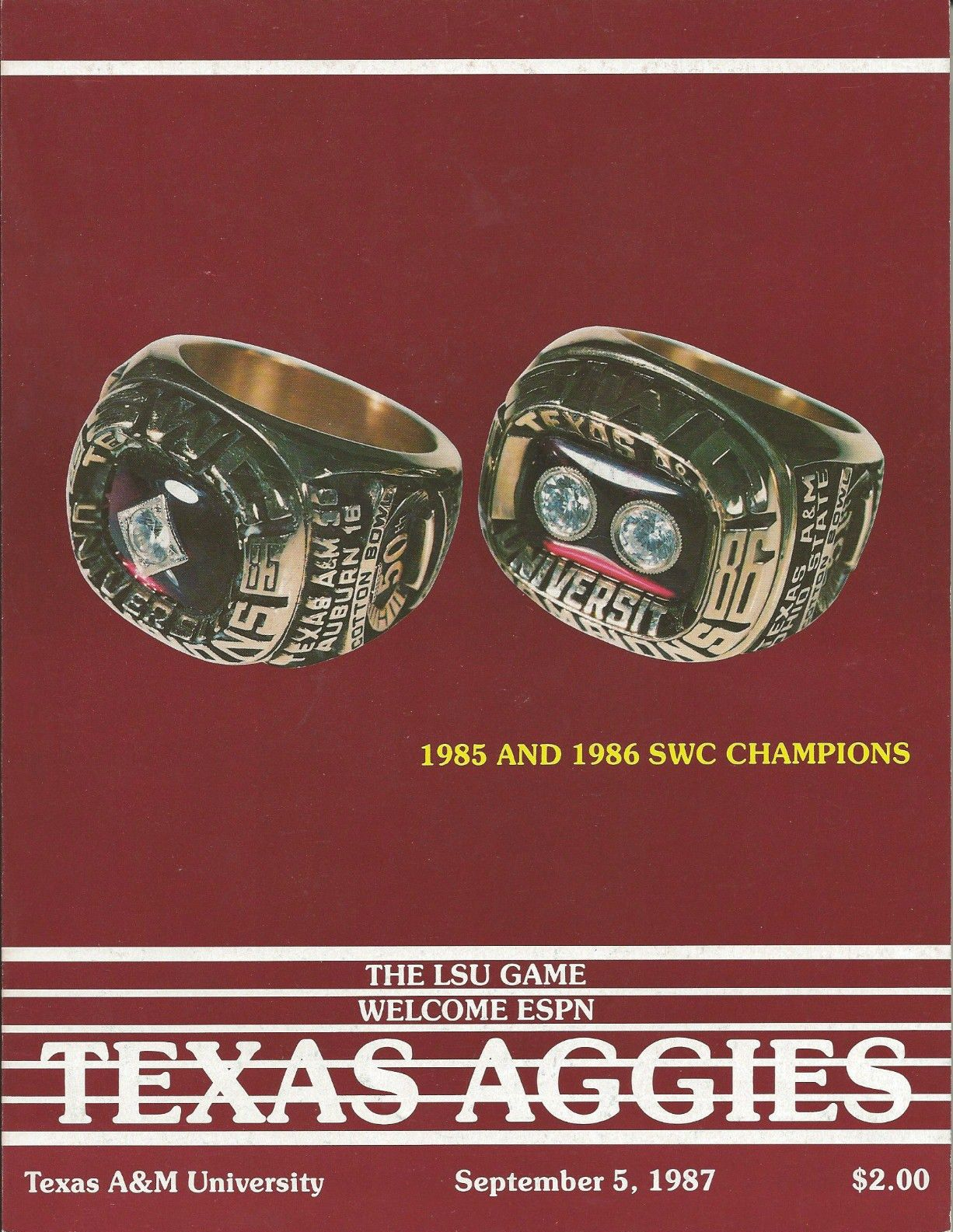 Game Kyle Program  and A&M between Field 1987 LSU Texas at