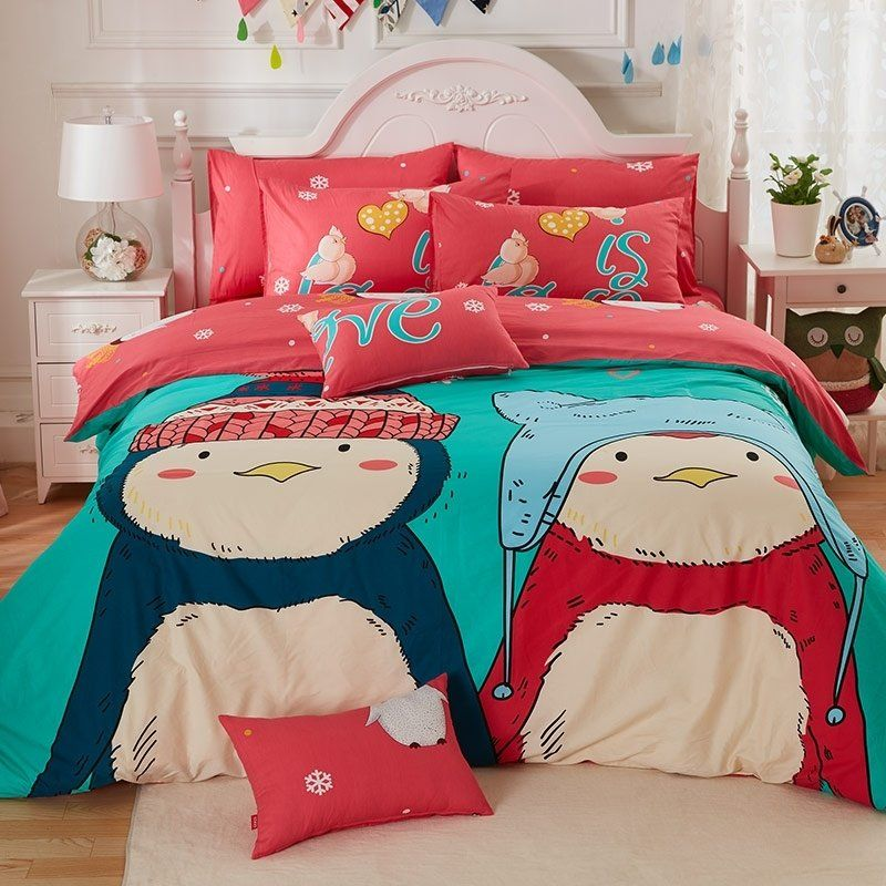 Personalized Coral Red Beige Turquoise And Dark Teal Penguin Print Cartoon Character Cute Kids 100 Cotton Ful Teal Bedding Sets Bedding Sets Full Bedding Sets