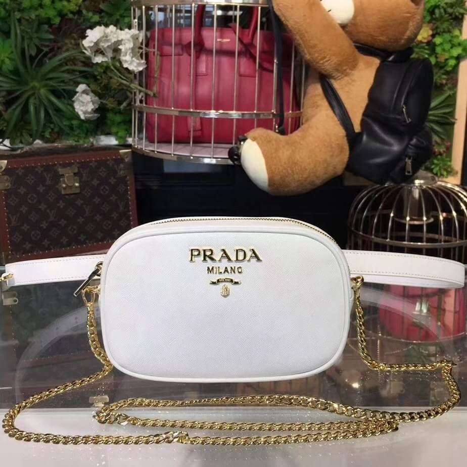 0882a41f422e Prada Saffiano Leather Belt bag 1BL007 White 2018