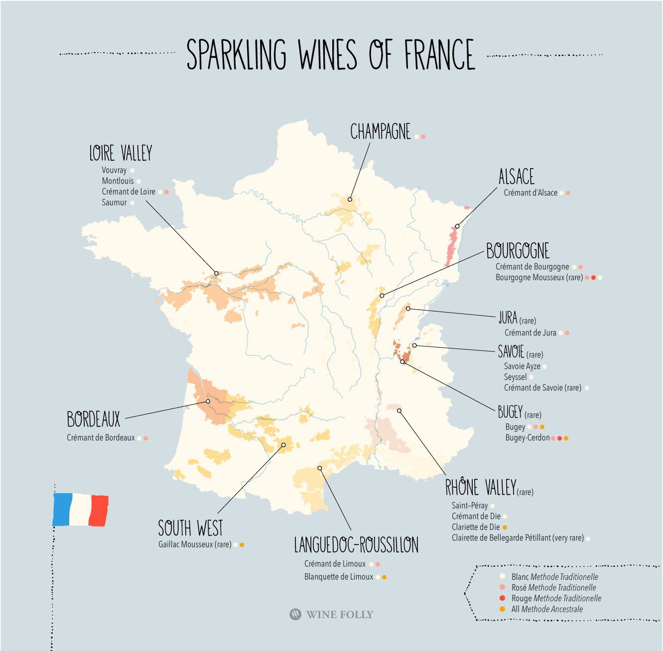 Beyond Champagne 23 Sparkling Wines of France Map Sparkling wine