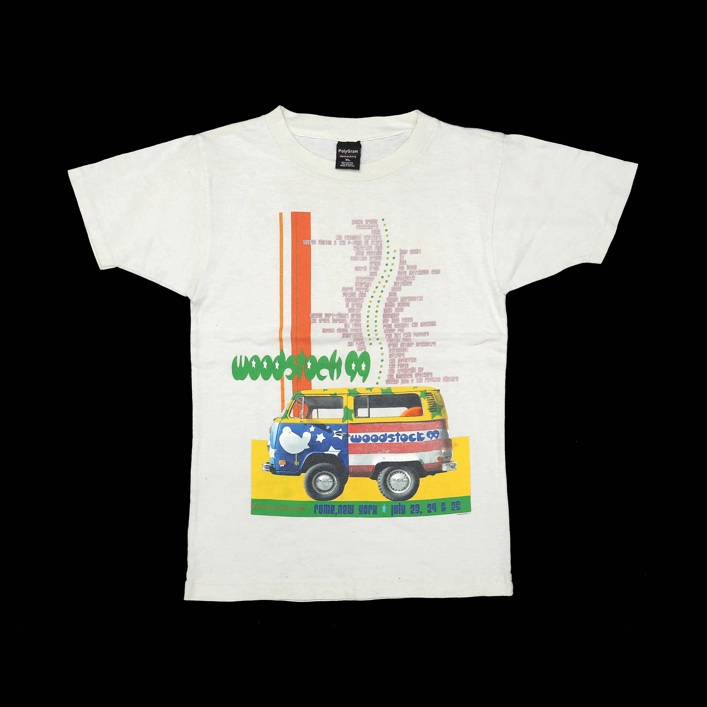 Vintage 90s Woodstock 1999 Polygram Merchandising Tee Single Stitch Hippies Rock Event T Shirt In 2020 With Images T Shirt Vintage Band Tees Tees