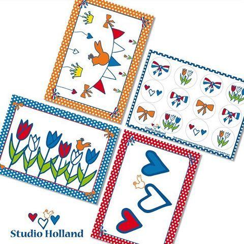 Studio Holland ansichtkaarten en stickervel | Hip & Stip kaarten en Studio Plume