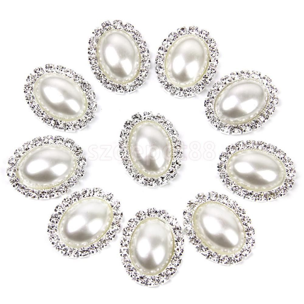 10 Crystal Rhinestone Pearl Flatback Button Embellishment Wedding Favors DIY