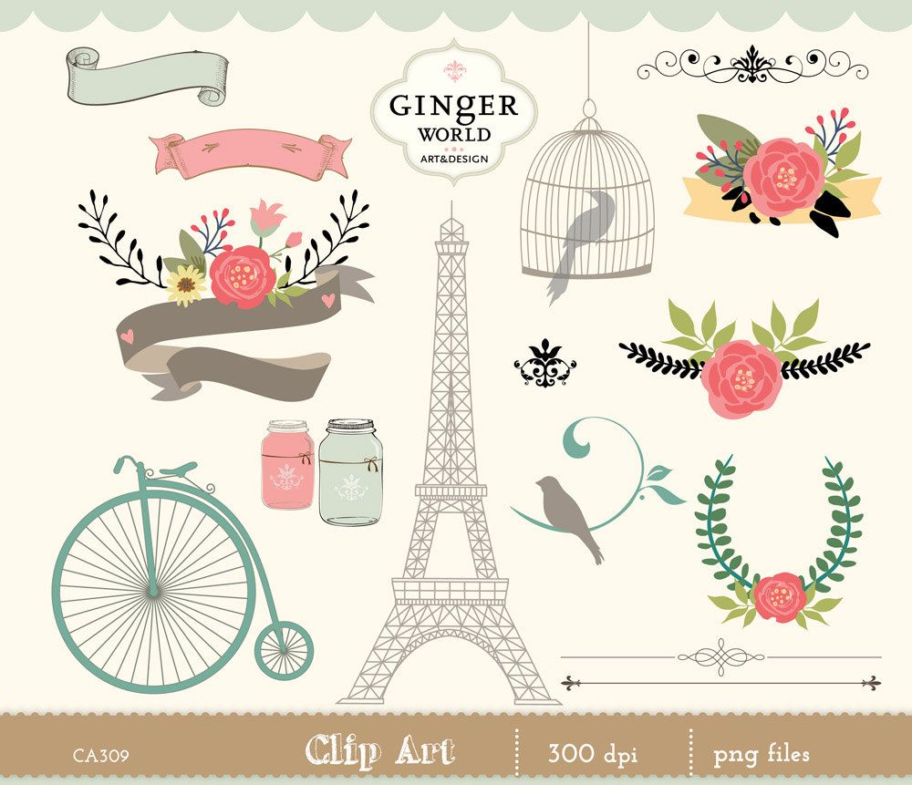 romantic and vintage graphics clip art, flower, paris chic, bicycle, bird cage, eiffel tower by GingerWorld on Etsy