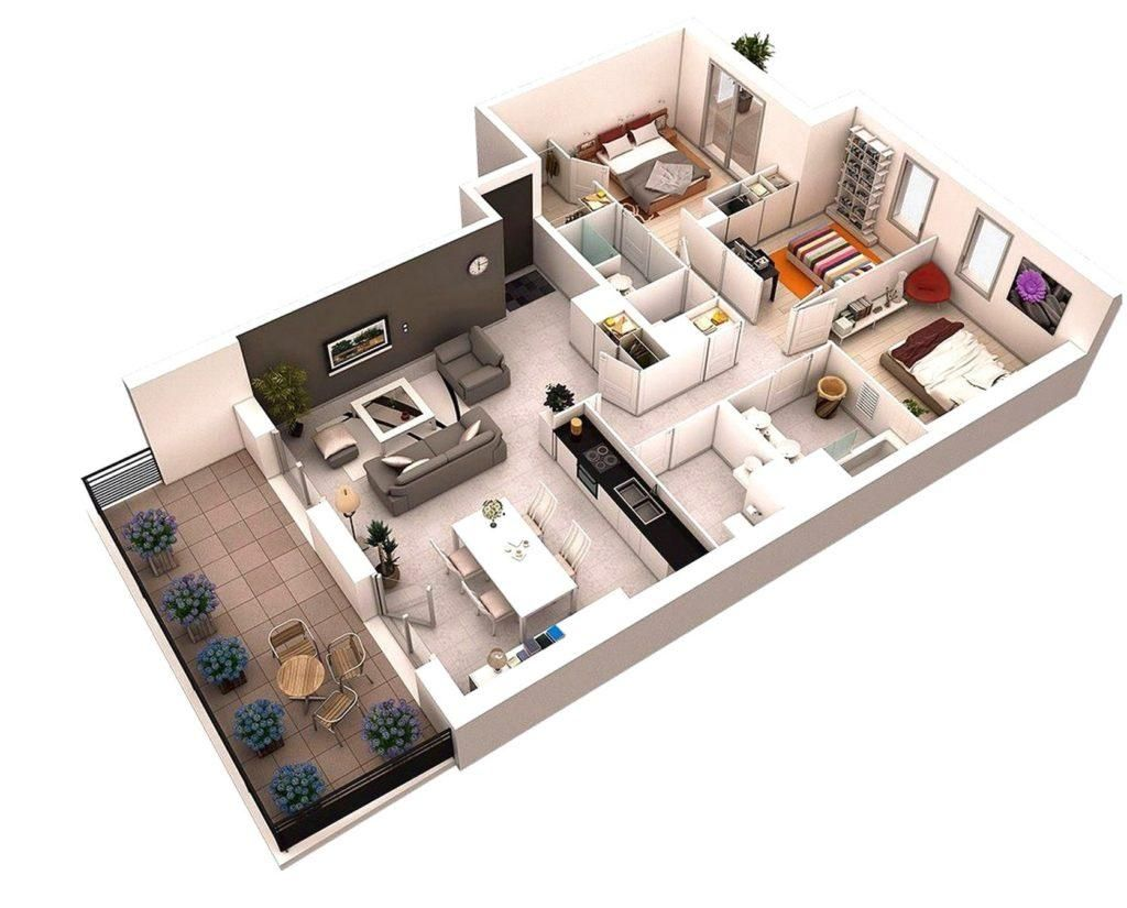 Three Bedroom Floor Plan House Design Designs Collections