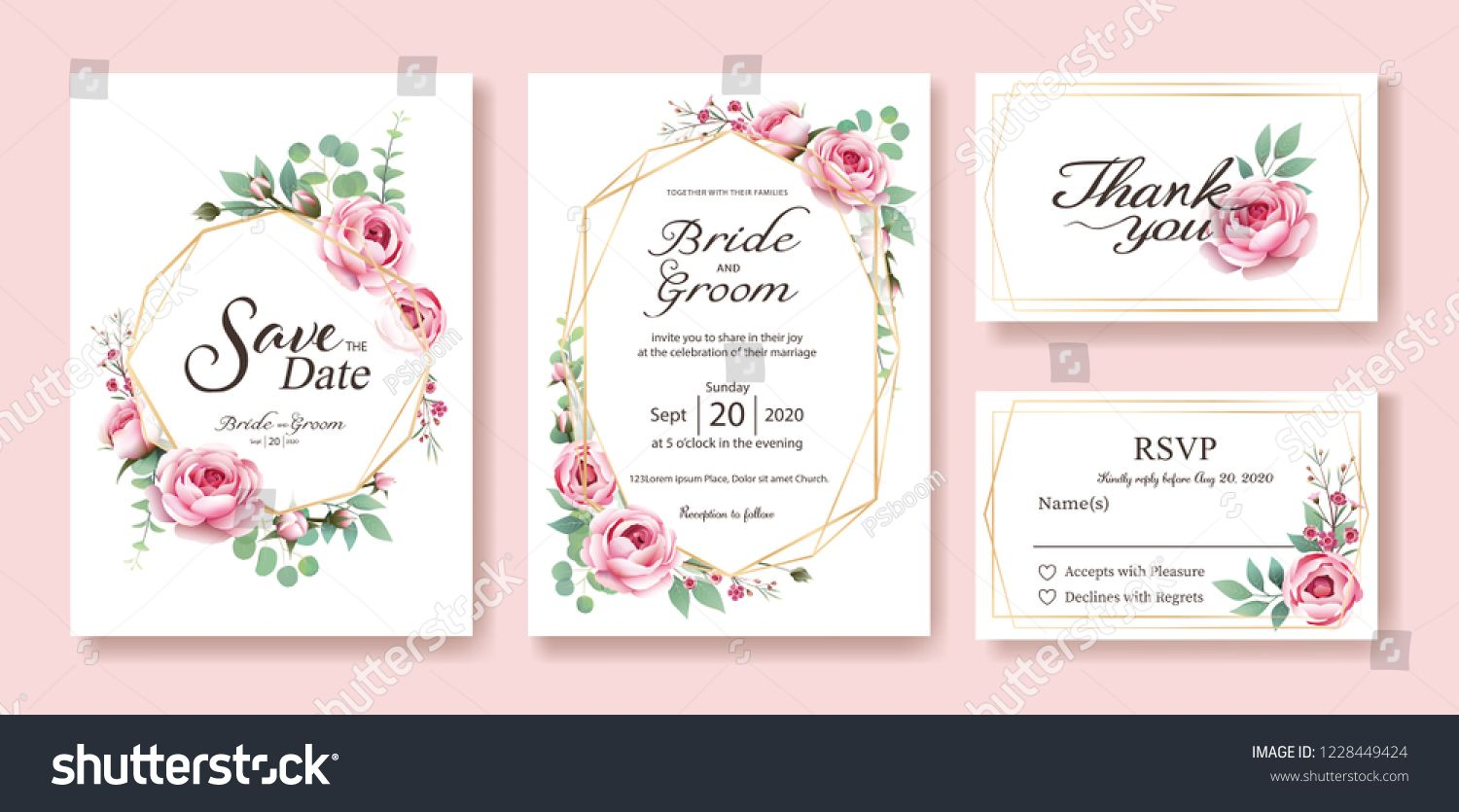 Floral Wedding Invitation Save The Date Thank You Rsvp Card Design Template Vector Floral Wedding Invitations Wedding Invitation Cards Wedding Invitations