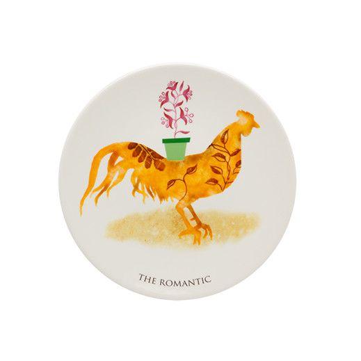 "My Rooster 8.83"" Romantic Dessert Plate"