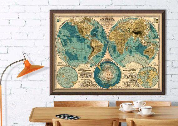 Impresión de Giclee de decorativo mapa mundo - mapa antiguo del mundo-