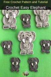Free Beginner Crochet Elephant Pattern #crochetelephantpattern