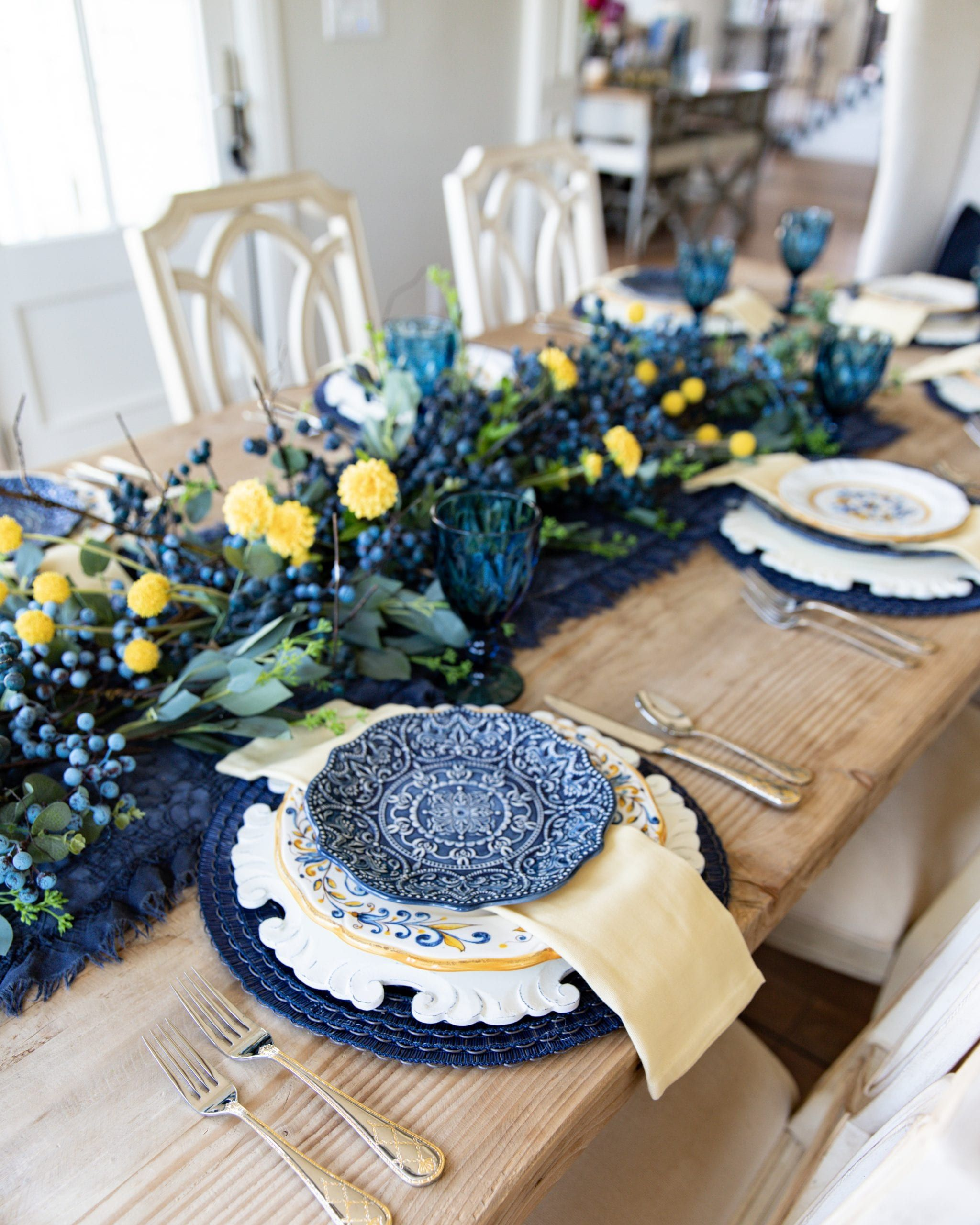 Blue And Yellow Summer Fall Tablescape Yellow Dinnerware Blue Dinnerware Yellow Decor