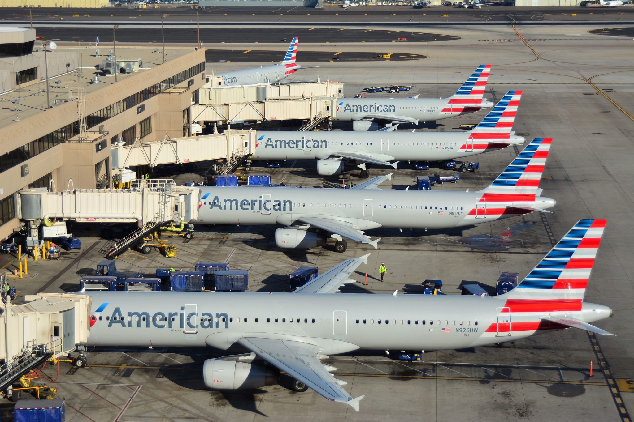 American Airlines Airbus Aircraft Sitting At The Gate At