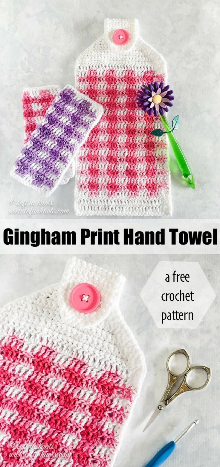Gingham Hand Towel - Free Crochet Pattern Make this free and beginner friendly gingham print hand towel with my free crochet pattern today! It is a fast spring or summer project and a perfect way to easily update your kitchen decor. A video tutorial is also available for right and left handed crocheters.Make this free and begin...