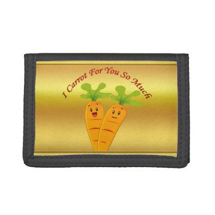 Cartoon carrots with big eyes and a smile to go tri-fold wallets - foil leaf gift idea special template