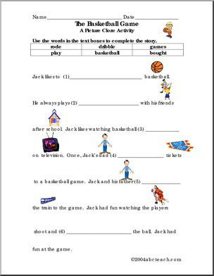 worksheet picture cloze basketball elem jack likes to basketball students use. Black Bedroom Furniture Sets. Home Design Ideas
