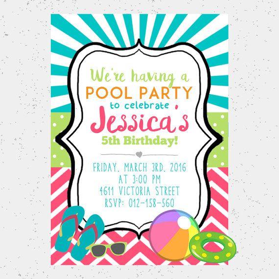 Pool Party Birthday Invitation Summer Digital E Invite Printable