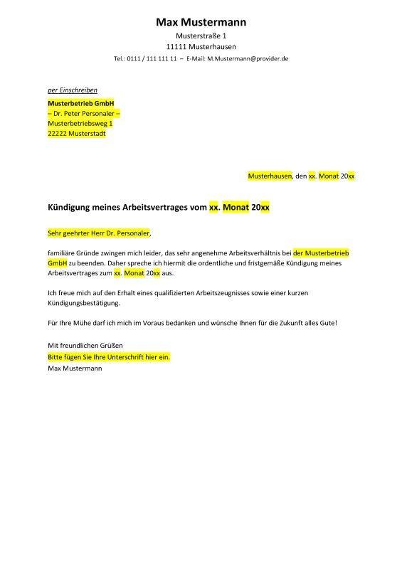 freundliches kndigungsschreiben in vorbereitung auf einen jobwechsel muster vorlage kndigungsschreiben vorlagen muster pinterest - Kundigungsschreiben Muster