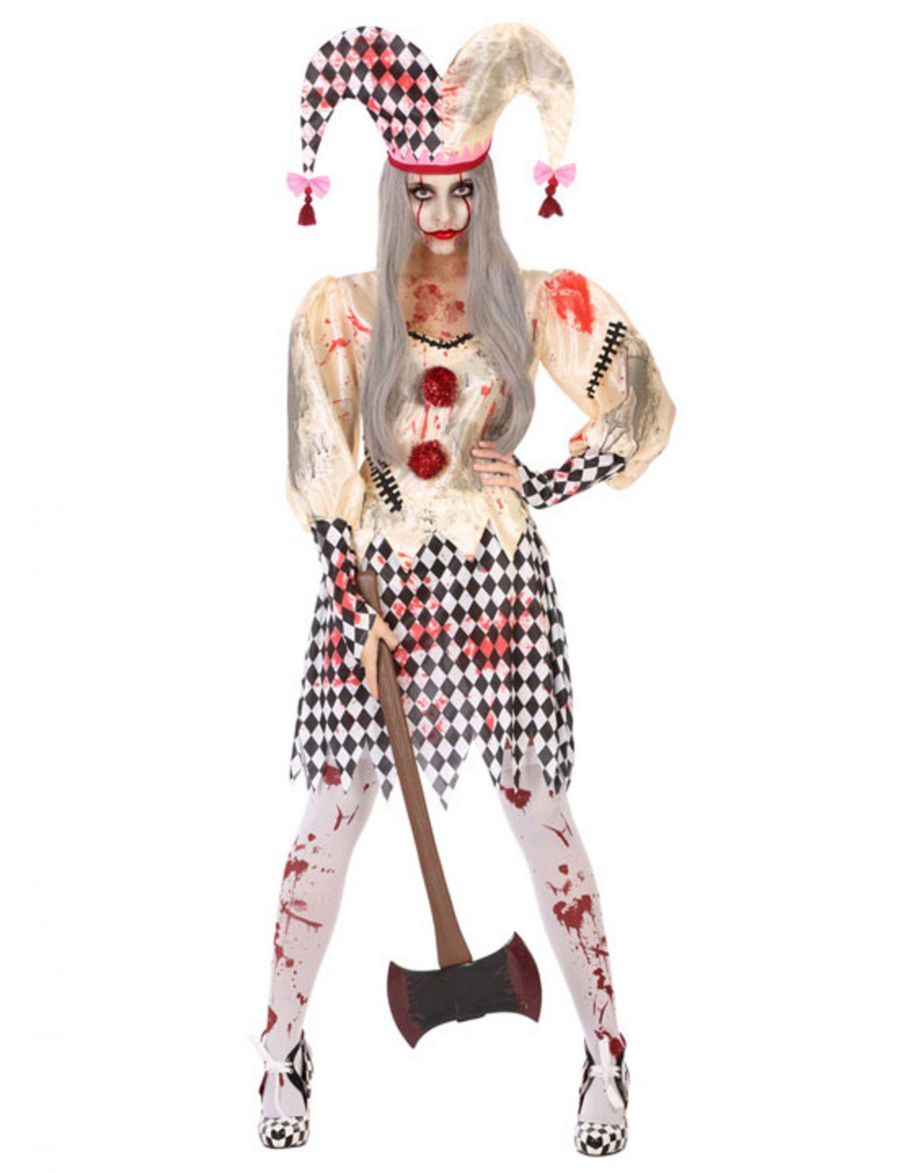 Costume da giullare insanguinato per donna  Questo travestimento da giullare  insanguinato per donna é composto 1a8ab6d9995f