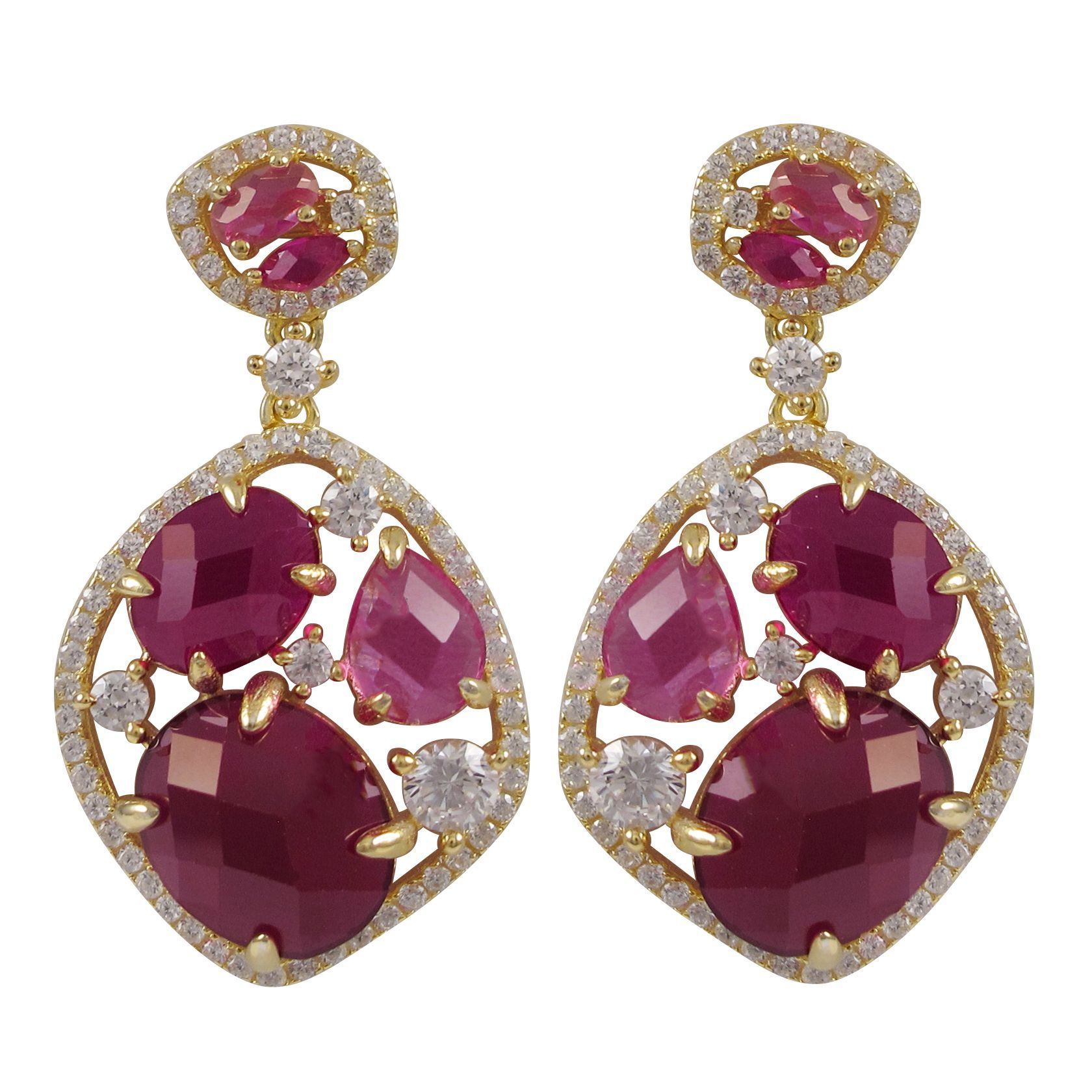 Luxiro Gold Finish Sterling Silver Lab Created Ruby Dangle Earrings Pink