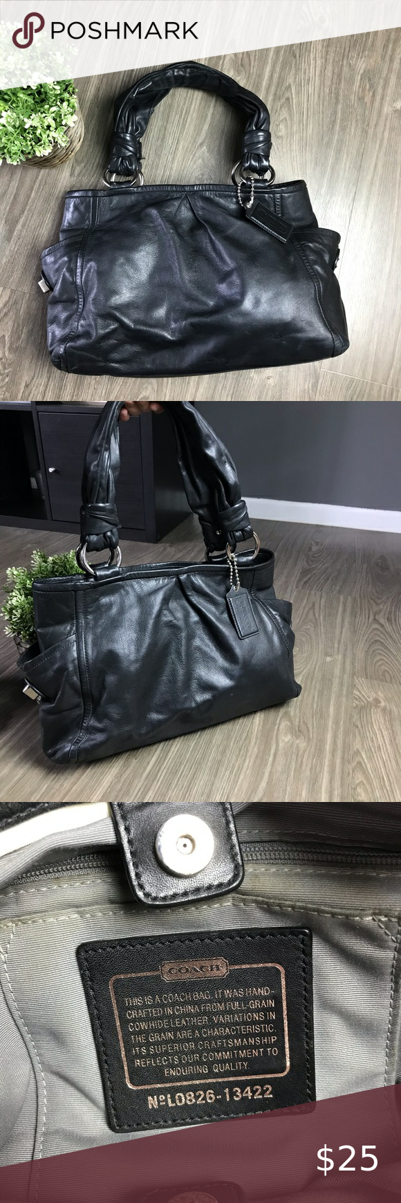 """Coach Parkey Riley Black Leather Satchel 🖤 GUC✨ 100% authentic ✅  Creed #L0826-13422 Black Leather  ••Missing the turnlock on the right outer pocket** one of the handles is a little damaged, see pics 📸 please*** Dimensions aprox 16""""L x 10.5""""H x 5""""D  📬Fast shipping  💲Make an offer Coach Bags Satchels"""