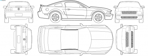 Ford Mustang V6 Blueprints Vector Drawings Clipart And Pdf Templates Ford Mustang 2006 Ford Mustang Ford Mustang Gt