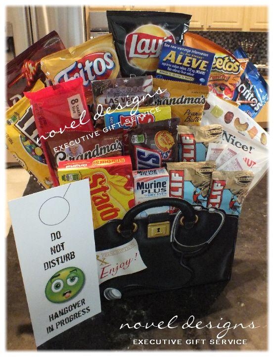 custom hangover snack gift basket designed to your