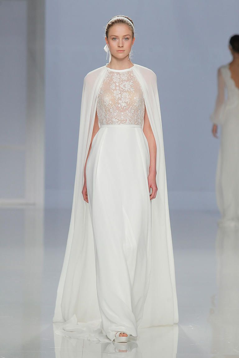 fc040a429d9 Sheer Lace Top Wedding Dress with Crepe Skirt and Cape