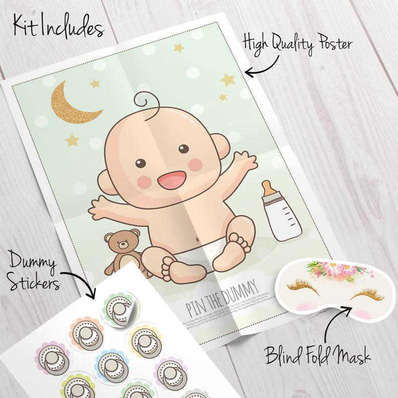 PIN THE DUMMY ON THE BABY Shower Party Game Up to 20 Players Boy Girl Unisex 20